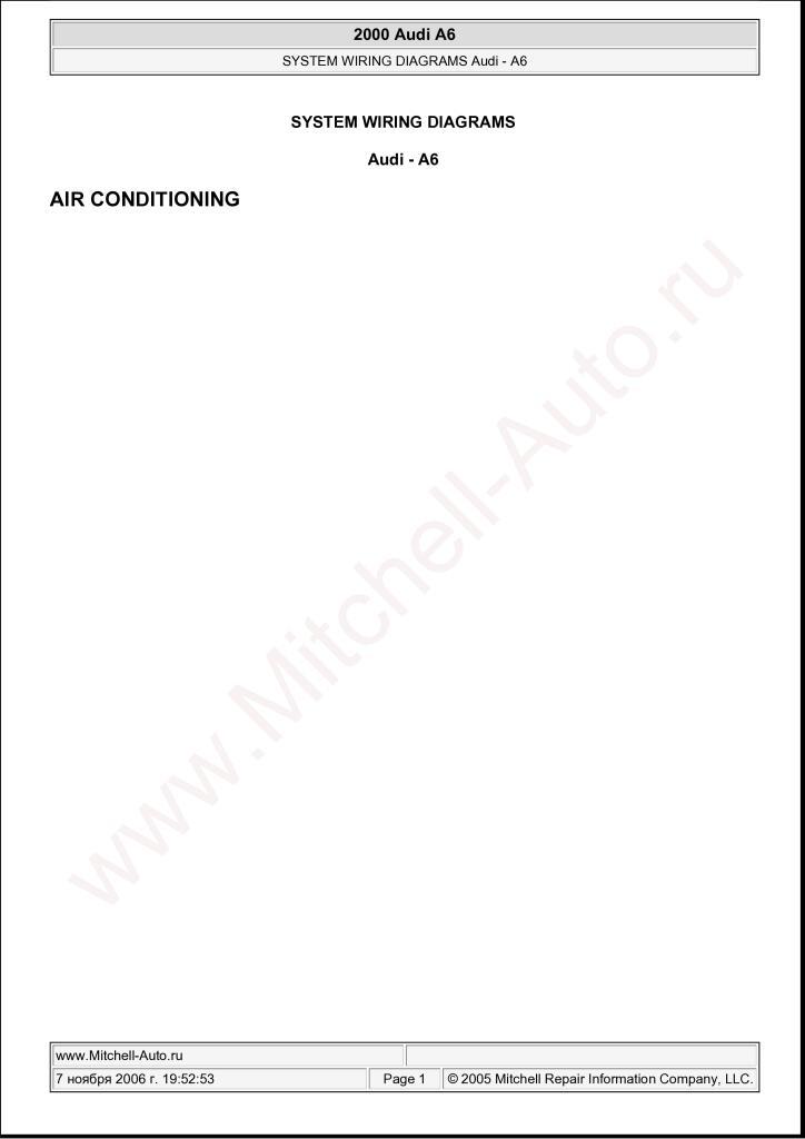 2000 Audi A6 System Wiring Diagram Pdf  11 4 Mb